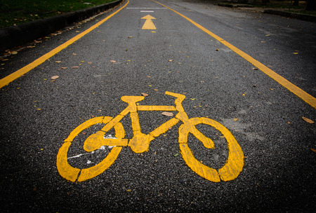 one lane street sign: bicycle lane sign on the road Stock Photo