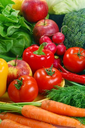 home garden: Composition with raw vegetables  Stock Photo