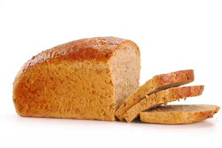 Loaf of bread isolated on white photo