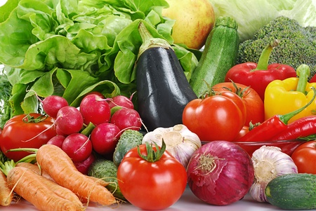digest: Composition with raw vegetables Stock Photo