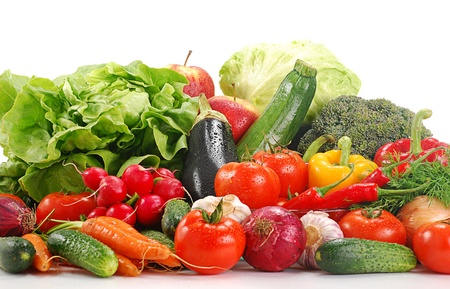 digest: Composition with variety of fresh vegetables