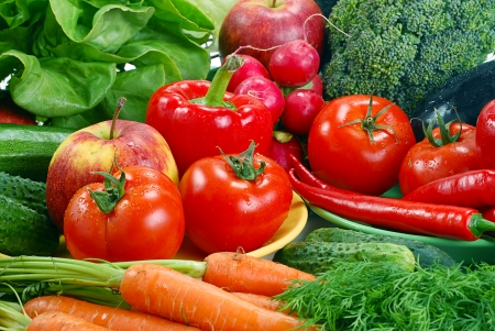 Komposition mit Vielzahl von frischem Gemüse Standard-Bild - 8482446