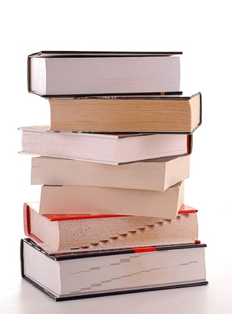 Stack of books isolated on white photo