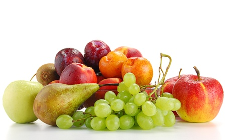 diet product: Composition with fruits isolated on white