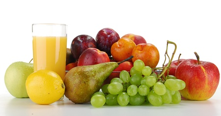 Composition with fruits and glass of orange juice isolated on white Stock Photo - 8611938