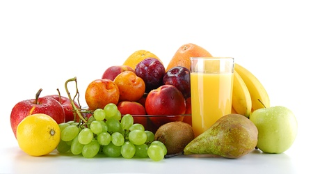 Composition with fruits and glass of orange juice isolated on white Stock Photo - 8481207