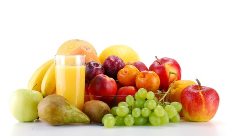 Composition with fruits and glass of orange juice isolated on white photo