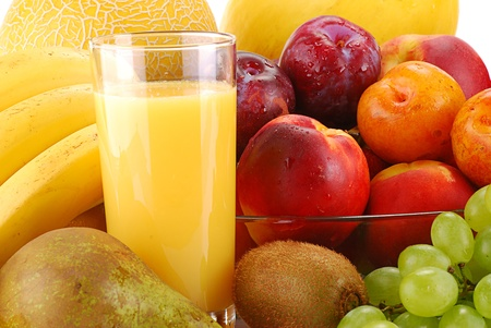 Composition with fruits and glass of orange juice Stock Photo - 8704538