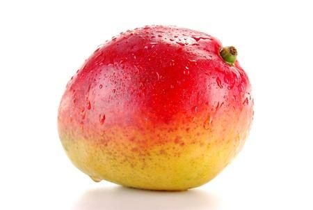 mango: Mango widoczne kroplami wody samodzielnie na biały