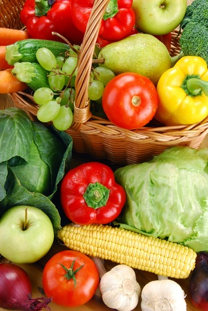 veganism: Composition with vegetables and wicker basket