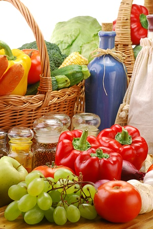 Composition with vegetables and fruits and wicker basket Stock Photo - 8659085
