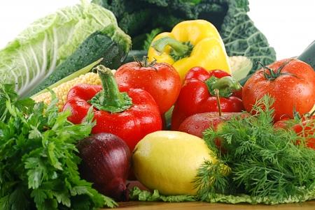 breakfast garden: Composition with fresh vegetables
