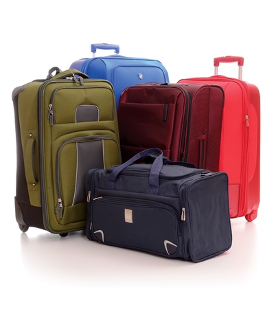 bagage: Valises isol�s sur fond blanc