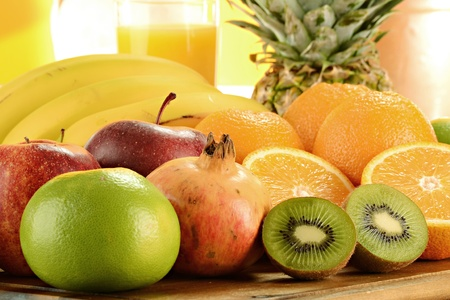 breakfast garden: Composition with fruits
