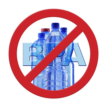 Anti bisphenol A (BPS) sign with commonly used polycarbonate plastic container of mineral water