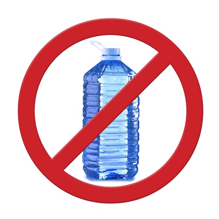 bps: Anti bisphenol A (BPS) sign with commonly used polycarbonate plastic container of mineral water