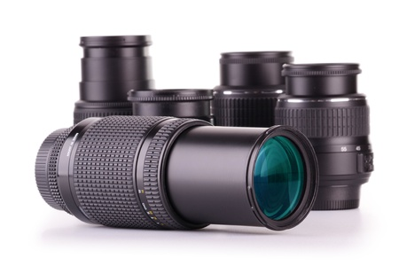 telephoto: Composition with photo zoom lenses  isolated on white