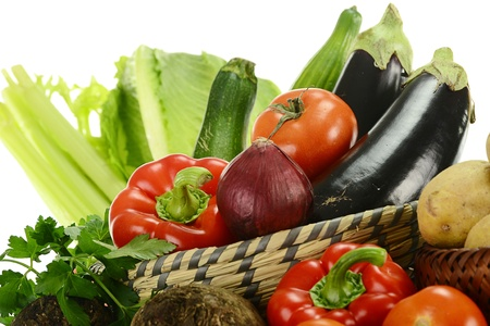 balanced diet: Composition with raw vegetables Stock Photo