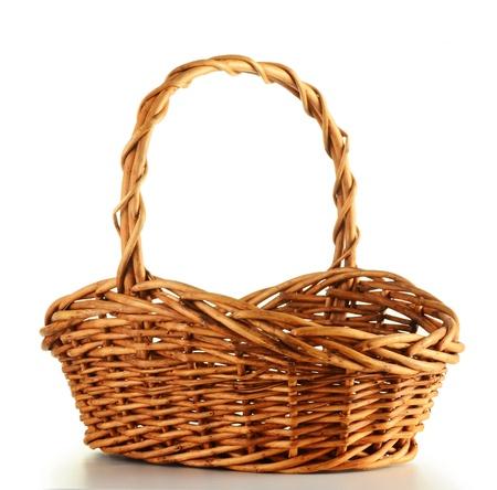 empty basket: Wicker basket isolated on white background