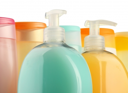 hair shampoo: Plastic bottles of body care and beauty products  Stock Photo