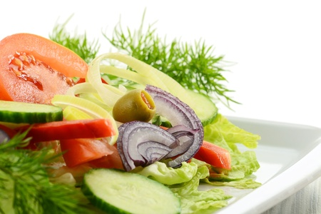 digest: Composition with vegetable salad with olives   Stock Photo