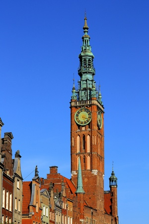 The Town Hall  in the center of Gdansk, Poland photo