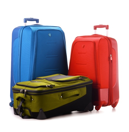 travel luggage: Luggage consisting of large suitcases isolated on white