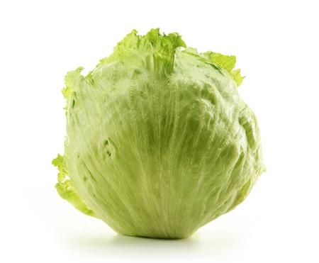 Crisphead, Iceberg, Lettuce isolated on white Zdjęcie Seryjne