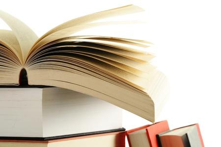 poezie: Samenstelling met boeken op de tafel Stockfoto