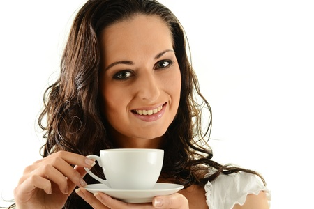 Young woman drinking coffee Stock Photo - 9780684