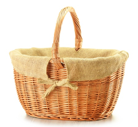 Empty wicker basket isolated on white Stock Photo - 10081559
