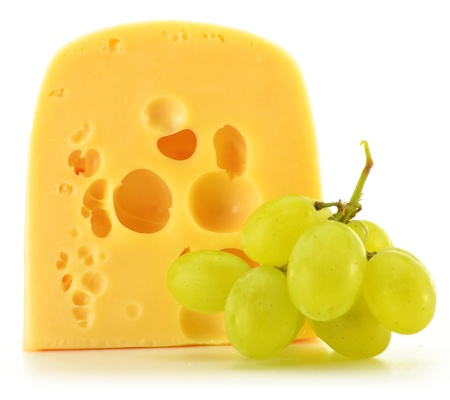 edam: Composition with piece of cheese isolated on white. Dairy product Stock Photo