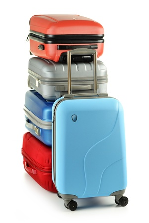 Luggage consisting of plycarbonate suitcases isolated on white Stock Photo - 10427567