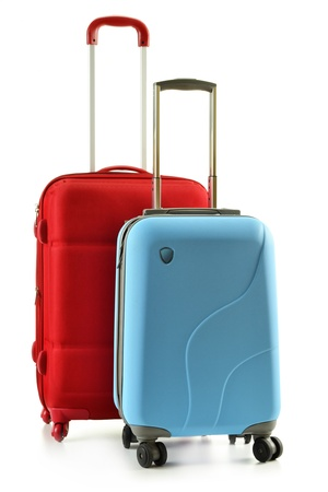 Luggage consisting of plycarbonate suitcases isolated on white Stock Photo