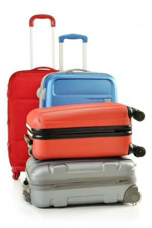 baggage train: Luggage consisting of suitcases isolated on white Stock Photo