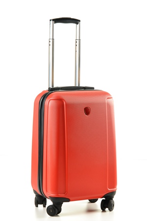 travel luggage: Suitcase isolated on white Stock Photo