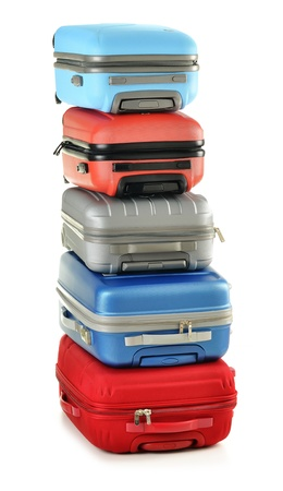 Luggage consisting of polycarbonate suitcases isolated on white Stock Photo - 10427561