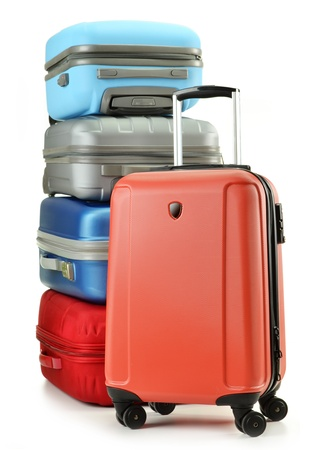Luggage consisting of polycarbonate suitcases isolated on white Stock Photo - 10427570