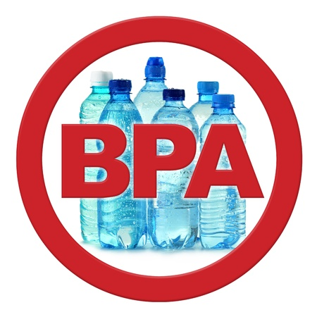 commonly: anti bisphenol A (BPA) sign with commonly used polycarbonate plastic bottles of mineral water