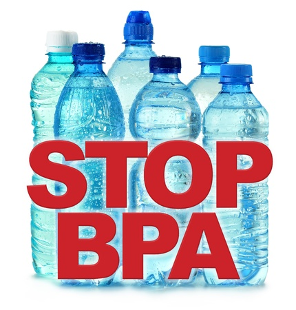 anti bisphenol A (BPA) sign with commonly used polycarbonate plastic bottles of mineral water