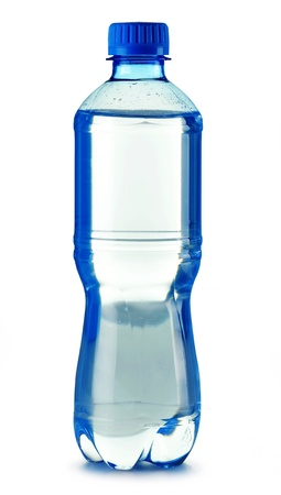 Polycarbonate plastic bottle of mineral water isolated on white background photo