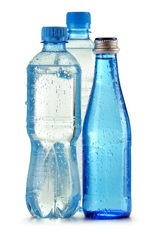 minerals food: Bottles of mineral water isolated on white background Stock Photo