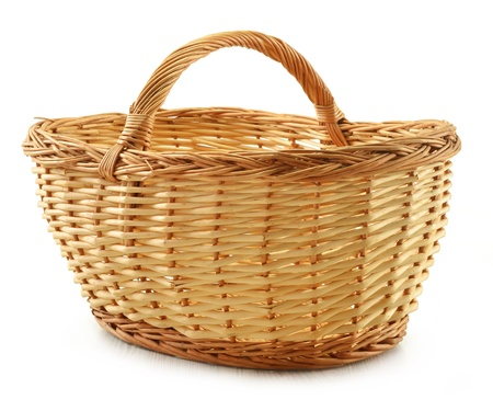 shopping baskets: Empty wicker basket isolated on white