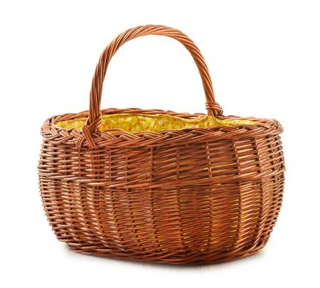 Empty wicker basket isolated on white  Stock Photo - 11549106