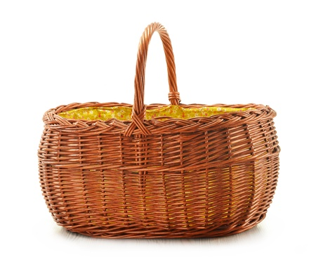 Empty wicker basket isolated on white  photo