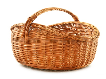 Empty wicker basket isolated on white  Stock Photo - 11549109