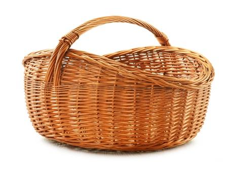 Empty wicker basket isolated on white Stock Photo - 11549109