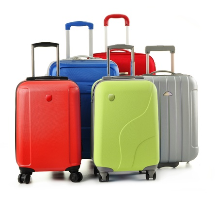 Luggage consisting of polycarbonate suitcases isolated on white Stock Photo - 11549111