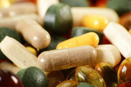 supplements: Composition with dietary supplement capsules and tablets
