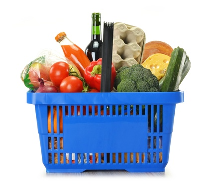 e cart: Composition with shopping basket and groceries isolated on white